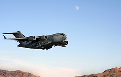 A U.S. Air Force C-17 Globemaster III aircraft departs from Nellis Air Force Base