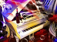 Piano wine surrealism Red Music
