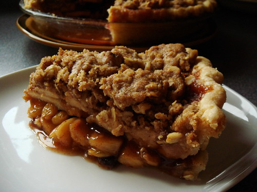 Spiced Apple Cranberry Crumb Pie: Sliced