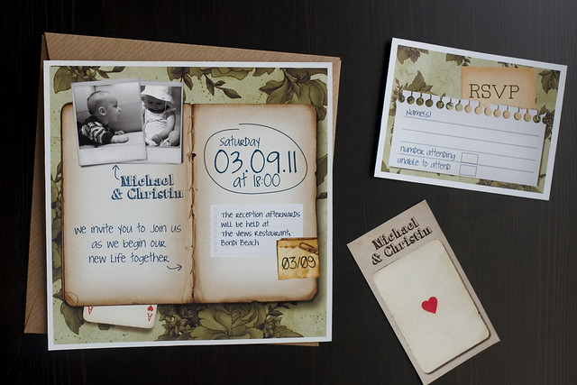 Scrapbook Wedding invitation set Your personal notebook and two pictures