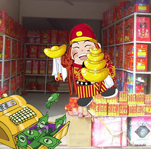 Chinese money god hides happily behind fireworks                   store cash register