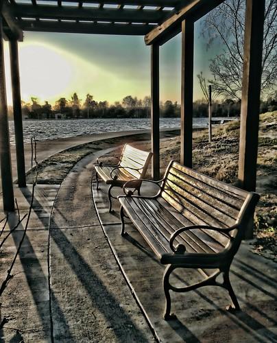park lake sunrise bench nikon coolpix balboa s80 benchs digitalcameraclub chrisyarzab