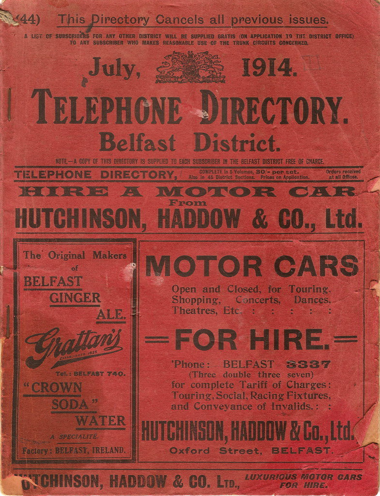 GPO Belfast Telephone Directory, July 1914