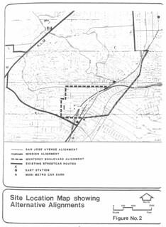 J Church Extension: Site Location Map showing Alternative Alignments (1982)
