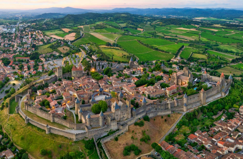 Aerial view of Carcassonne. Credit Chensiyuan