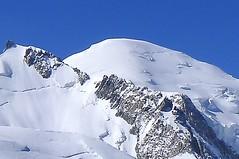 Mont Maudit, 4465 m, und Montblanc, 4810 m, von der Aiguille du Midi, 3795 m. Foto: Günther Härter.