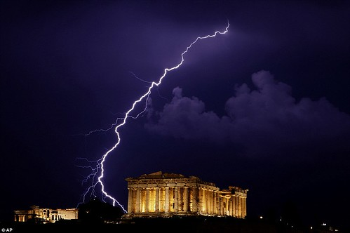 Lightning at Parthenon on the Acropolis