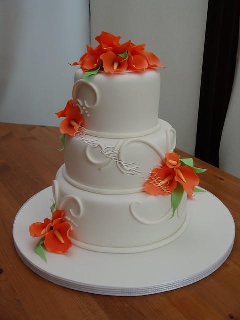Orange arum lily wedding cake This is my first official wedding cake