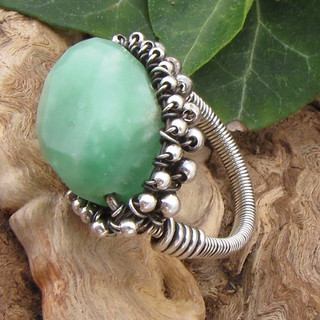 Kelly Ring Sterling Silver Opal Glass Handmade Wire Wrapped Jewelry