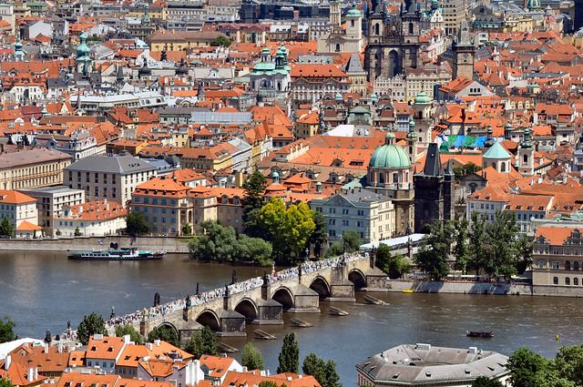 Praha from Petrin Hill - Charles Bridge - Flickr CC horslips5