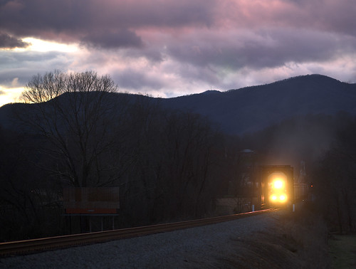 railroad mountains train evening spring scenic locomotive
