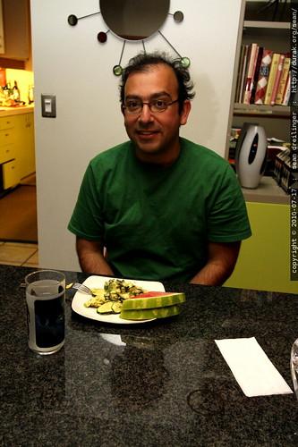 michael at breakfast   eggs & watermelon