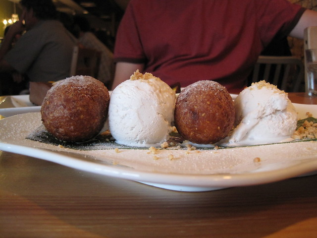Green Elephant: fried doughnut holes with coconut ice cream