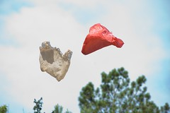 Plastic bags blowing in wind