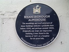 Photo of Knaresborough Almshouse blue plaque