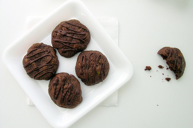 Dark Chocolate Cookies With Pistachios And Milk Chocolate Chunks