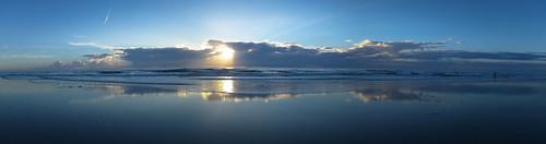 blue sunset sea panorama beach clouds sunrise florida pano jacksonville