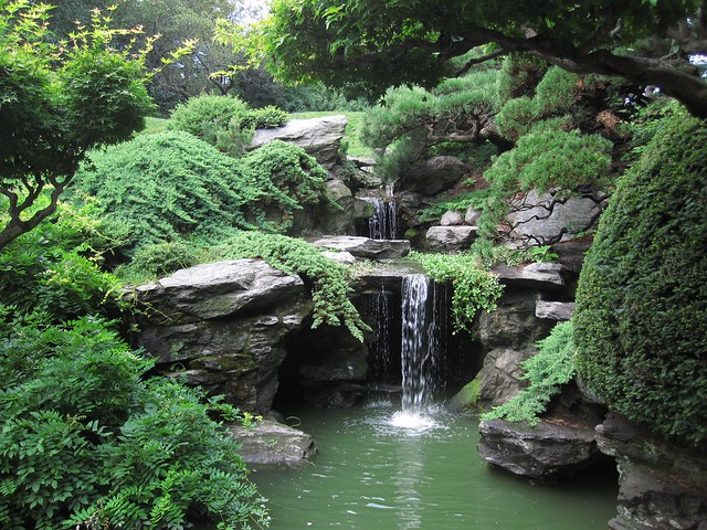 The waterfall in the Japanese Hill-and-Pond Garden offers a cool and contemplative view on a hot August day. Photo by Rebecca Bullene.