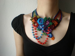 Ranunculus Thora ... Freeform Beaded Crochet Necklace