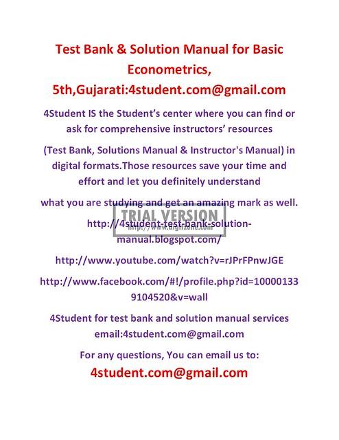 Basic econometrics gujarati 5th edition free download.