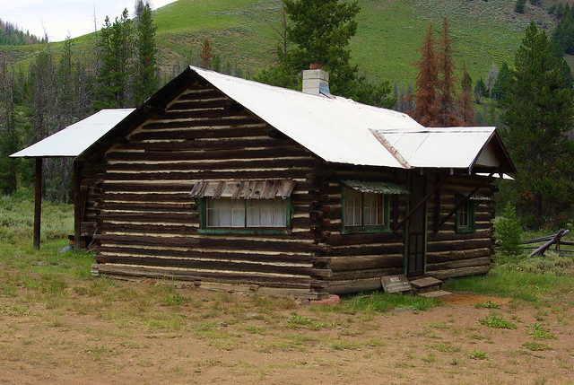 Log Cabin in Bonanza, an Idaho ghost town along Yankee Fork Creek, July 28, 2010