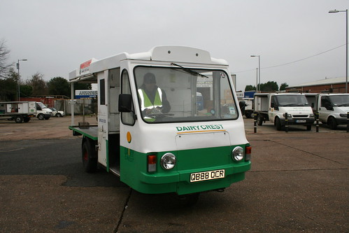 Dairy Crest W&E Q888 OCR seen at Bexhill-On-Sea,East Sussex depot on 26th November 2008,the only 3-wheeler still there,used on a Bexhill local round.
