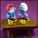 Papa Smurf and Nanny Smurf at tea