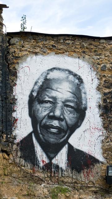 Nelson Mandela painted portrait  P1040890