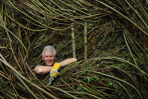 Patrick Dougherty at work at Sculpture in the Parklands, County Offaly, Ireland. Photo by James Fraher. All rights reserved.