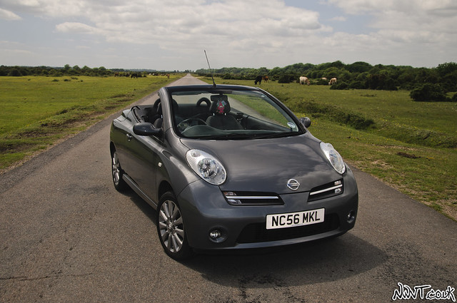 2006 grey nissan micra sport convertible roof down close front quarter shot flickr photo. Black Bedroom Furniture Sets. Home Design Ideas