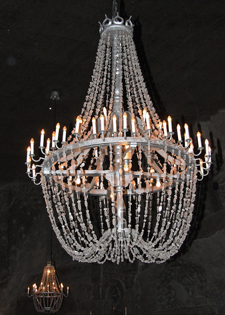 Rock salt chandeliers