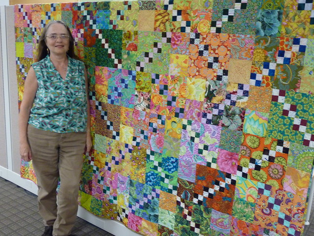Leanne with her anniversary quilt