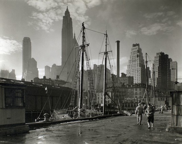 Fulton Street Dock, Manhattan, by Berenice Abbott 1935