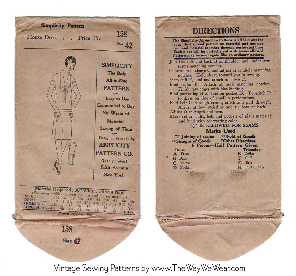 Simplicity Pattern 158 - 1920's Vintage Sewing Pattern