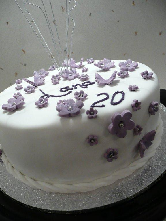 Purple And White Birthday Cake A Photo On Flickriver