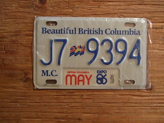 BRITISH COLUMBIA 1986, EXPO86 STICKER, WHITE BASE ---MOTORCYCLE PLATE