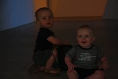 Finn and Archie in a Dan Flavin room