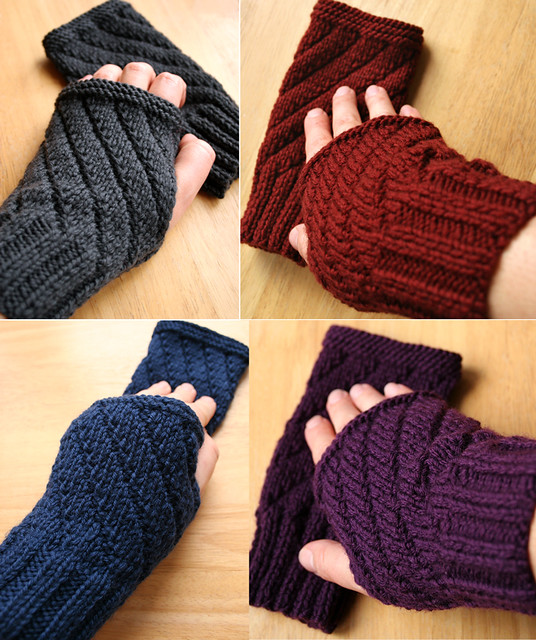 Darting Diagonals Fingerless Gloves - New Knitting Pattern ...