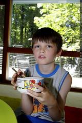 nick eating home made vegan peach ice cream