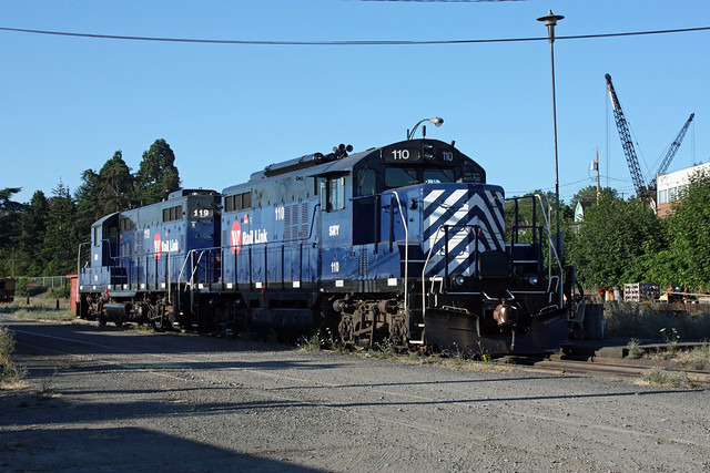 Southern Railway of British Columbia GP-9 units #110 and #119.  The company is the current operator of the Esquimalt & Nanaimo.  Nanaimo BC, July 25 2010. (Start Day 5)