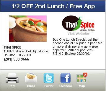 Houston Thai Restaurant Coupons