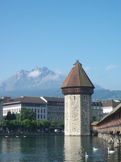 Tower and bridge on the river in Lucerne, Switzerland