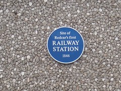 Photo of Redcar railway station blue plaque