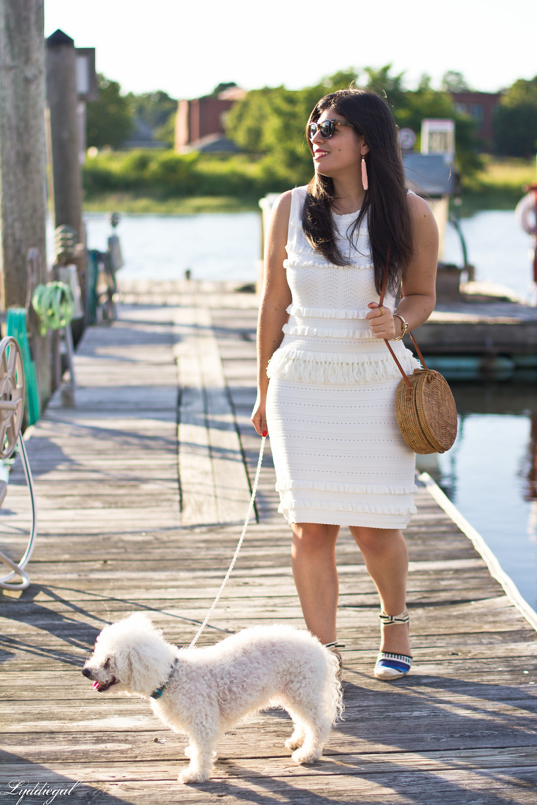 white knit dress, blue striped soludos, dog walking outfit-2.jpg