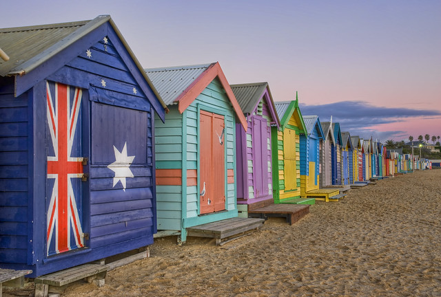 Bathing boxes on Brighton beach