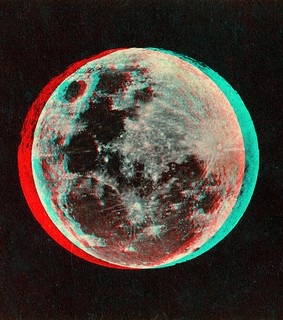 The Moon published by Joseph L. Bates 1860's anaglyph 3D