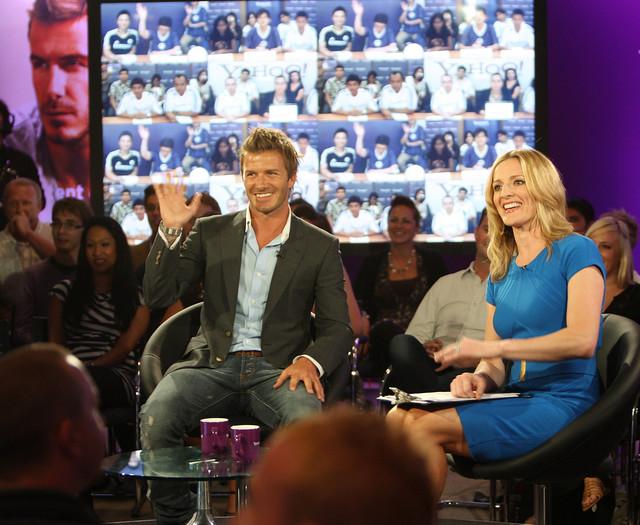 David Beckham und Moderatorin Gabby Logan