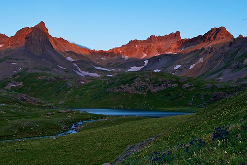 lake mountains ice america sunrise us san colorado silverton hiking united north basin backpacking co states juans