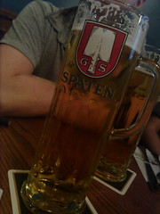 Drinking German beer, in an Irish Pub, in Canada. Fantastic.