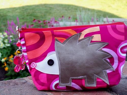 Pink Fabric Zippy Pouch with Hedgehog Applique Handmade